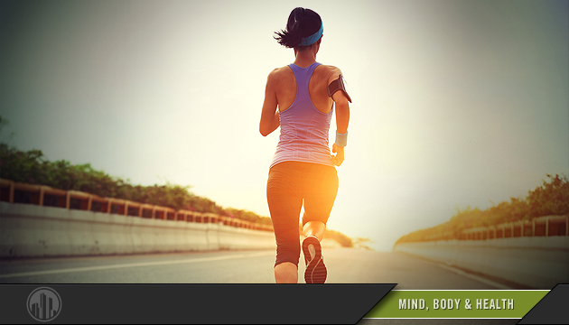 Photo of a woman jogging in workout clothes. Login to find savings on products or services for mind, body & health.