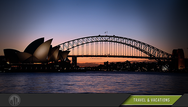 Photo of a sunset with landmarks from Syndney, Australia in the foreground. Login to find savings on travel & vacations.